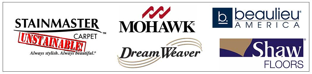 We offer Stainmaster, Mohawk, Dream Weaver, Beauliew, Shaw carpeting and more.